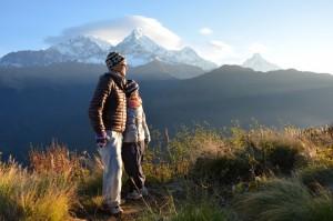 ER und SIE auf Poonhill 3200 Meter hoch - kurz nach dem Sonnenaufgang