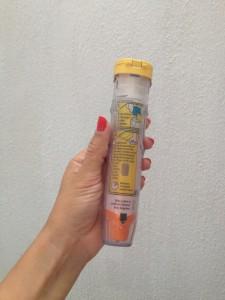 Dabei, um hoffentlich nie benutzt zu werden: der Epi Pen bei allergischem Schock