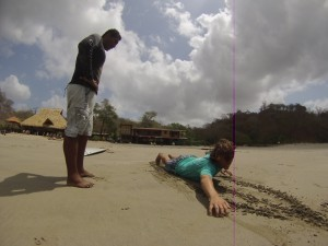 Trockenübung am Strand: Nicht mal da einfach...