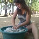 In Trincomalee haben wir unser kleines Paradies gefunden - da macht sogar Wäschewaschen Spaß